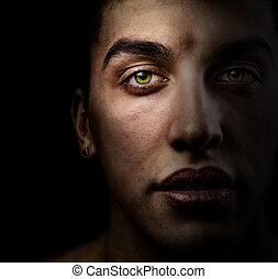 beaux yeux, figure, vert, ombre, homme
