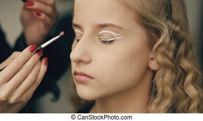 beaux yeux, perfomance, artiste, maquillage, jeune, actrice, intérieur, danse, maquillage, girl, marques, avant
