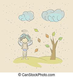 because, ange, illustration, triste, automne, dessin animé