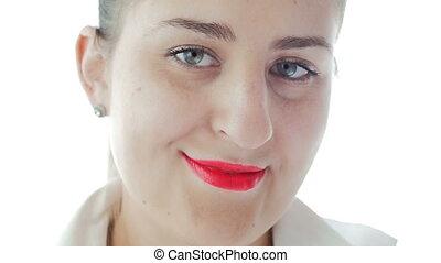 beeautiful, lent, rouge lèvres, appareil photo, jeune, mouvement, femme, vidéo, closeup, sourire, rouges
