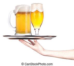 beer., concept, plateau, entiers, célébration