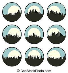 behind., grand, emblèmes, ensemble, lune, ville, rond, silhouettes, gratte-ciel