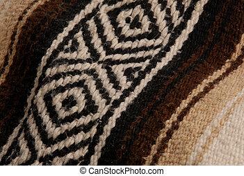 beige, haut, brun, fin, couverture, détails, mexicain