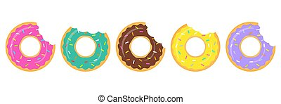 beignets, coloré, isolé, arrière-plan., ensemble, blanc, vecteur