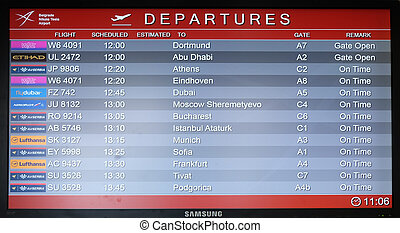 belgrade, planche, vol, aéroport
