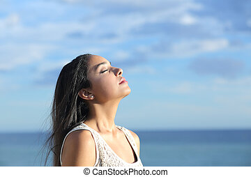 belle femme, air, arabe, respiration, frais, plage