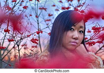 belle femme, asiatique, baie