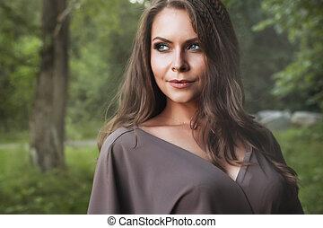 belle femme, automne, girl., fall., mode, portrait.