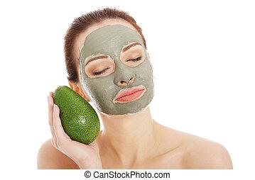 belle femme, avocat, masque, facial, spa