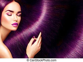 belle femme, beauté, directement, longs cheveux, brunette, fond, hair., rouges