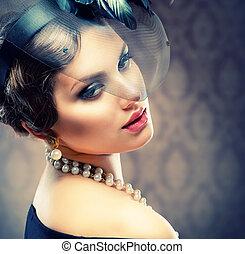 belle femme, beauté, vendange, jeune, portrait., retro, styled.