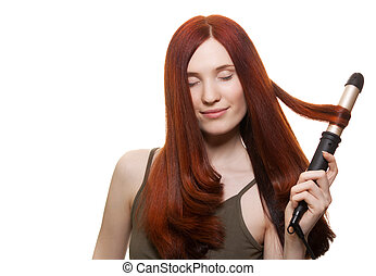 belle femme, bordage, isolé, longs cheveux