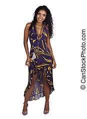 belle femme, bouclé, longs cheveux, africaine