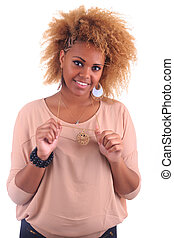 belle femme, bouclé, longs cheveux, africaine, sourire, afro