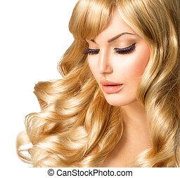 belle femme, bouclé, longs cheveux, portrait., blonds, blond, girl