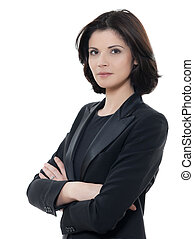 belle femme, business, isolé, bras, sérieux, studio, fond, portrait, traversé, blanc, une, caucasien