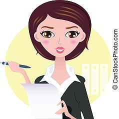 belle femme, business, isolé, jaune, stylo, fond