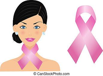 belle femme, cancer, ruban