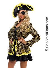 belle femme, carnaval, forme., costume., pirate