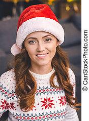 belle femme, chapeau, santa