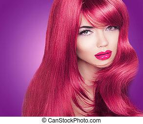 belle femme, coloration, chevelure, long, clair, mode, portrait., makeup., hair., rouges, lustré