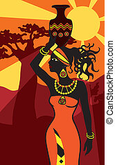 belle femme, coucher soleil, africaine