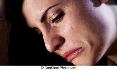 belle femme, désespéré, triste