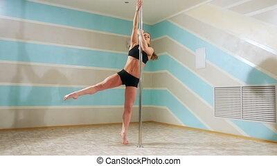 belle femme, danse, danse, poteau, danseur, femme, fitness, girl, sport