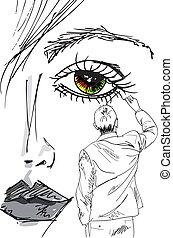 belle femme, dessine, artiste, face., illustration, vecteur