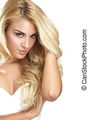 belle femme, elle, projection, jeune, cheveux, blond