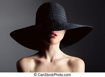 belle femme, fashion., sombre, arrière-plan., retro, hat.