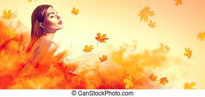 belle femme, feuilles, jaune, automne, mode, poser, studio, tomber, robe