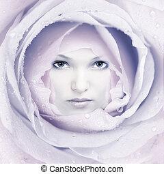 belle femme, flower., figure