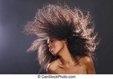 belle femme, grand, abrutissant, cheveux, américain, noir, africaine, portrait