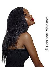 belle femme, hair., long, africaine