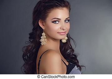 belle femme, hairstyle., beauté, long, accessoire, earrings., hair., top model noire, portrait., girl