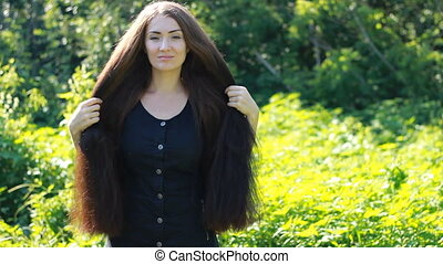 belle femme, hairstyle., très, long, hair.