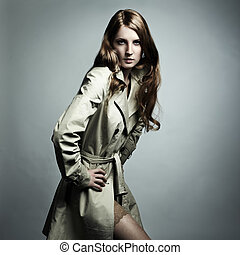 belle femme, imperméable, jeune, mode, portrait
