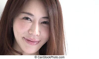 belle femme, japonaise, appareil photo, asiatique, portrait, fille souriante