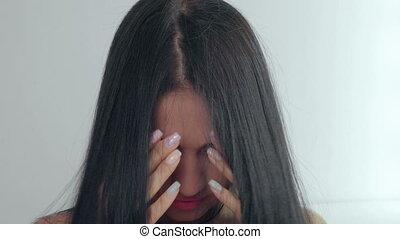 belle femme, jeune, long, noir, hair.