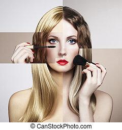 belle femme, jeune, mode, conceptuel, portrait