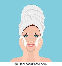 belle femme, lavage, processus, peignoir, figure, serviette