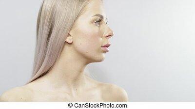 belle femme, long, hair., portrait, blond
