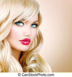belle femme, longs cheveux, ondulé, portrait., blonds, blond, girl