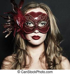 belle femme, masque, jeune, vénitien, mystérieux, rouges