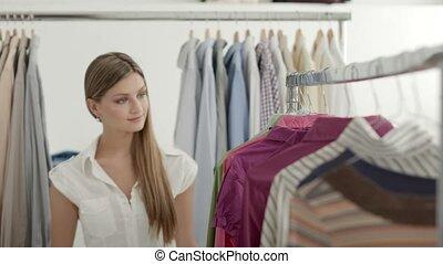 belle femme, mode, jeune, magasin