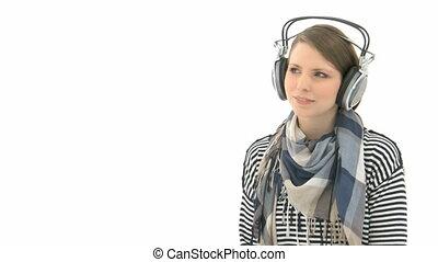belle femme, musique écouter, écouteurs