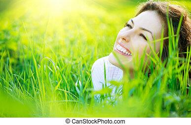 belle femme, nature, printemps, jeune, dehors, apprécier