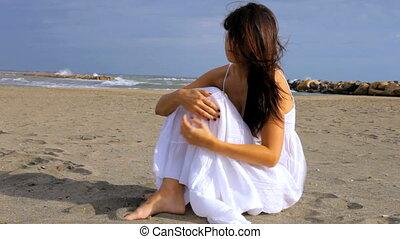 belle femme, plage, wi, triste