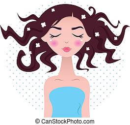 belle femme, pointillé, isolé, cheveux, fond, spa